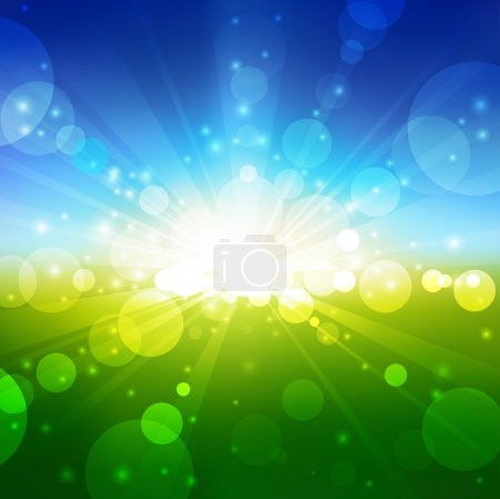 Illustration for Vector Blurry summer view with sunlight - Royalty Free Image