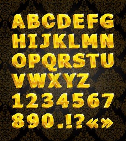 Illustration for Golden 3D shiny font - Royalty Free Image