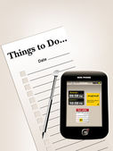 To do list or things to do list and samll cellphone