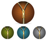 Set of colored circle zippers  four golden zippers