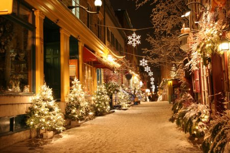 Photo for Deserted street in Quebec City decorated for Christmas - Royalty Free Image