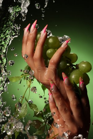 Photo for Hands of a young woman with a nice manicure.Оn a green background with grapes. - Royalty Free Image