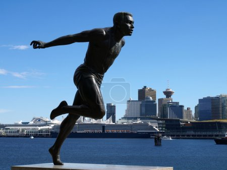 Harry Jerome Monument at Stanley Park on August 29, 2010 in Vancouver Canada