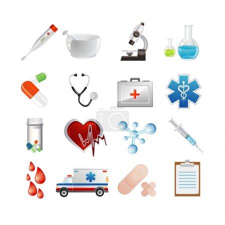 Photo pour Illustration vectorielle d'icônes médicales - image libre de droit