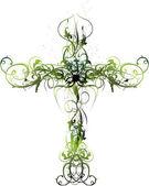 Zelené květinové kříž