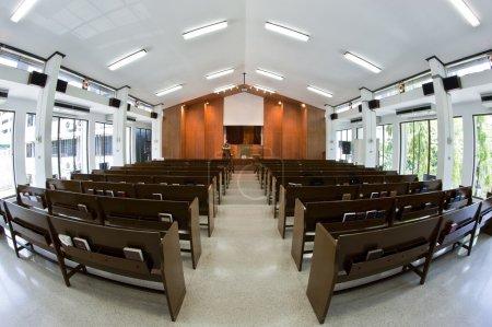 Inside church building