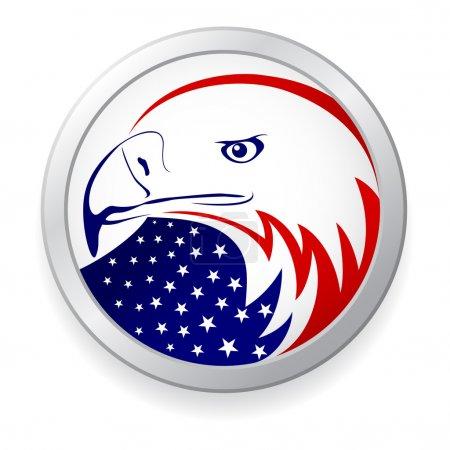 Photo pour Aigle avec le drapeau américain - image libre de droit
