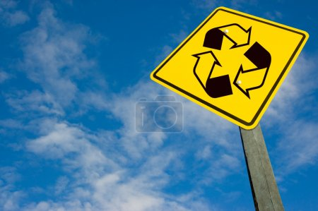 Recycle symbol on traffic sign.