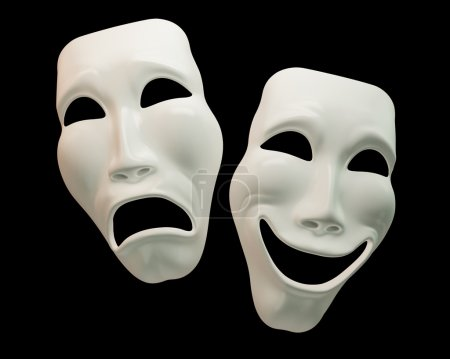 Photo for Theatre masks on black background with clipping paths - Royalty Free Image