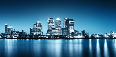 Photo for Panoramic picture of Canary Wharf view from Greenwich. - Royalty Free Image