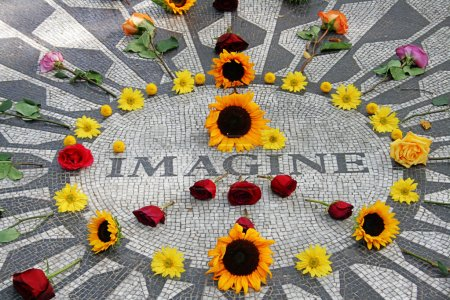 Imagine mosaic, full of flowers, in Central Park