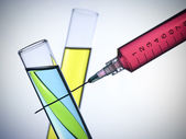 Syringe and test tubes