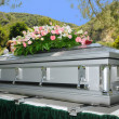Image of a stainless steel Casket with Flowers...