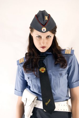 Young attractive woman-policeman