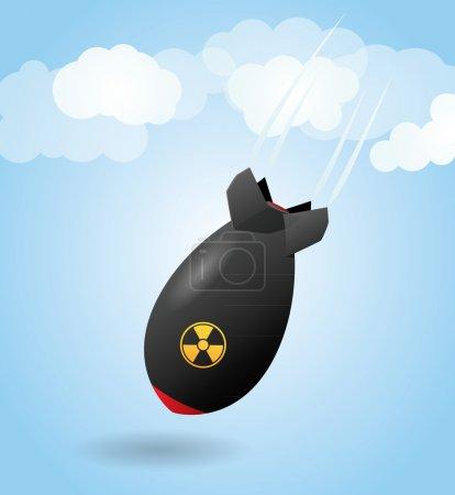 Illustration for Cartoon rocket bomb, falling - Royalty Free Image