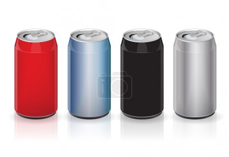 Illustration for Vector aluminum drink cans - color variations - Royalty Free Image