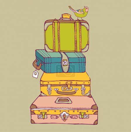 Illustration for Suitcases with a bird - Royalty Free Image