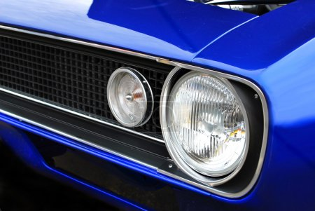 Blue Muscle Car Headlights and Hood