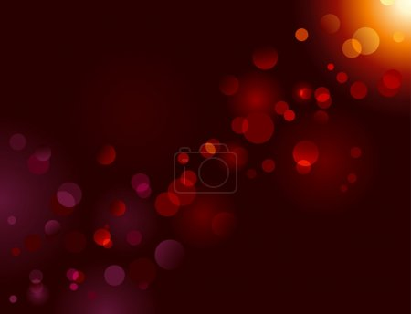 Illustration for Blurry and shiny light dots on black background with copy space. Vector bokeh effect. - Royalty Free Image