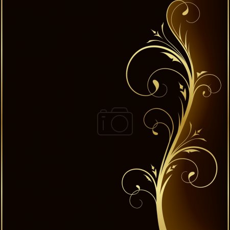 Illustration for Dark brown square background with golden scrolls on the right hand side. Use of 6 global colors, linear gradients, blend. - Royalty Free Image