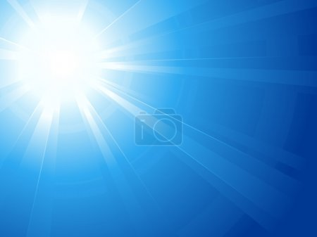 Illustration for Abstract horizontal background, asymmetric light burst with the centre in the upper left third. - Royalty Free Image
