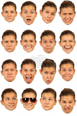 Photo for Set of 16 useful facial female expressions over white background - Royalty Free Image