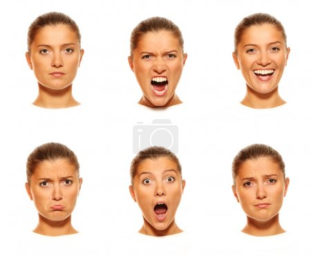Photo for A set of six faces showing different emotions - Royalty Free Image