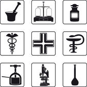 Old pharmacy objects in a nine square grid