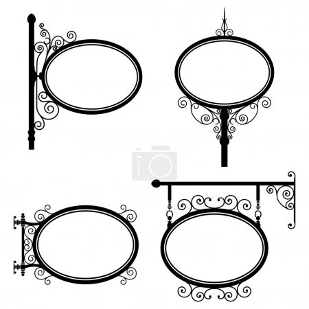 Illustration for Black and white wrought iron oval signs set - Royalty Free Image