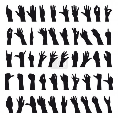 Illustration for Fifty hands gesturing black and white silhouettes - Royalty Free Image