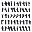 Fifty hands gesturing black and white silhouettes...