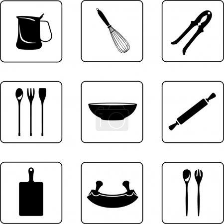 Photo pour Objets de cuisine silhouettes noir et blanc dans une grille carrée de neuf - image libre de droit