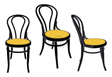 Illustration for The same chair in three different sights - Royalty Free Image