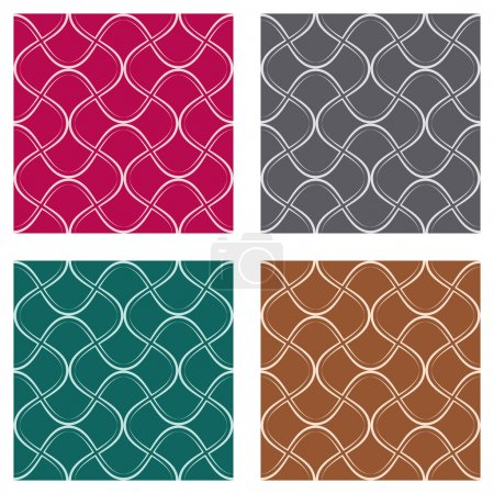 Illustration for Abstract seamless pattern in four different colours - Royalty Free Image