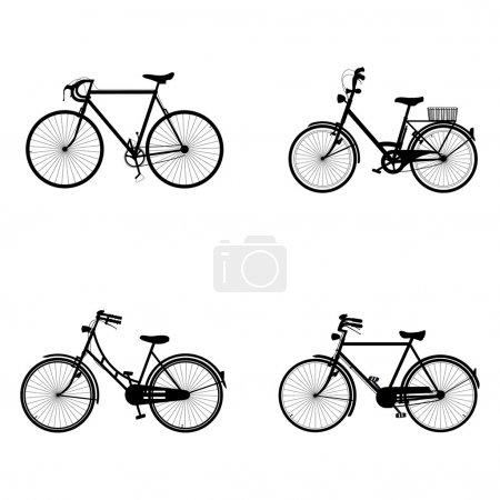 Illustration for Four detailed bicycles black and white silhouettes - Royalty Free Image