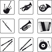 Musical instruments black silhouettes in a nine square grid