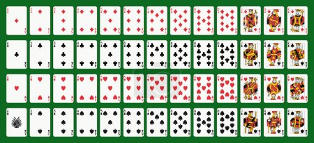 Illustration for Poker playing cards, full deck. Green background in a separate level in vector file - Royalty Free Image