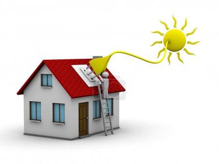 Foto de El hombre que instala un sistema de energía solar en una casa - Imagen libre de derechos