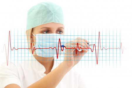 Photo pour Female doctor in medical mask writing a cardiogram over white background - image libre de droit