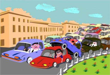 Illustration pour Incident de la route aux heures de pointe causé un embouteillage - image libre de droit