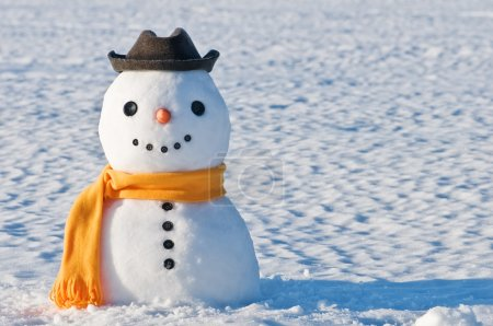 Photo for Cute snowman on snowy field - Royalty Free Image