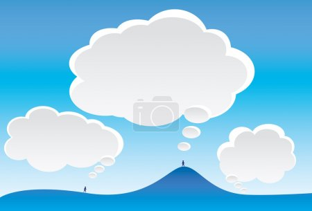 Illustration for Cartoon image of thought clouds and blue sky. - Royalty Free Image