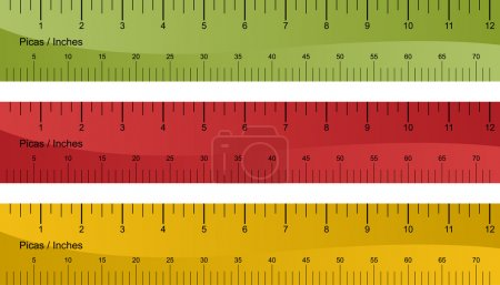 Pica ruler set isolated on a white background....