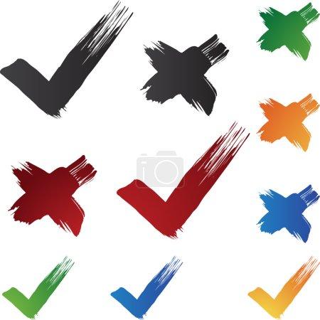 Illustration pour Marquer les coups de pinceau isolés sur un fond blanc . - image libre de droit