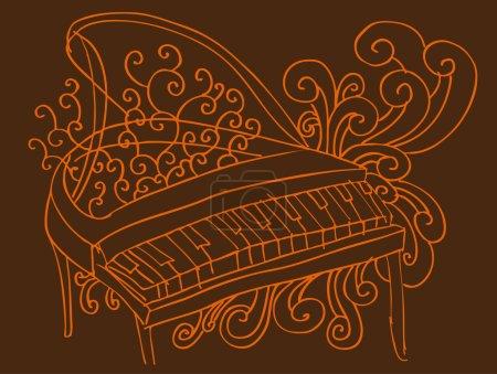 Illustration pour Un croquis dessiné de main d'un piano avec faire tourbillonner fond. - image libre de droit