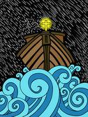 An abstract cartoon of Noah's ark