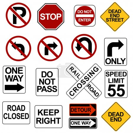 Illustration for An image of road sign icons. - Royalty Free Image