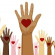 An image of a diverse set of hands with heart....