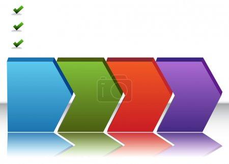 Illustration pour Une image d'un graphique vide de quatre étages. - image libre de droit