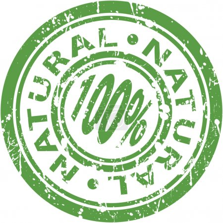 Illustration for An image of a green 100% natural stamp. - Royalty Free Image